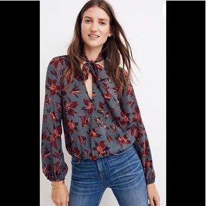 Madewell silk tie-neck wrap top winter orchid